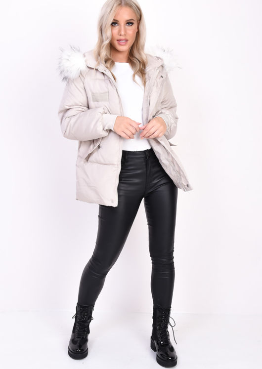 Oversized Quilted Faux Fur Hooded Padded Puffer Coat Beige