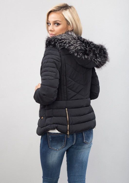 Quilted Faux Fur Hooded Padded Puffer Coat Black