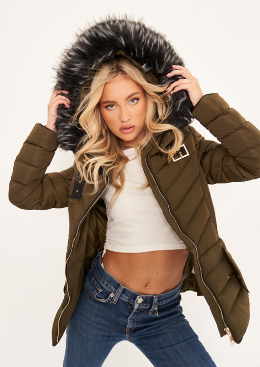 Quilted Faux Fur Hooded Padded Puffer Coat Khaki