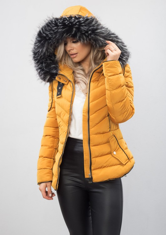 b13b445ac Quilted Faux Fur Hooded Padded Puffer Coat Mustard Yellow