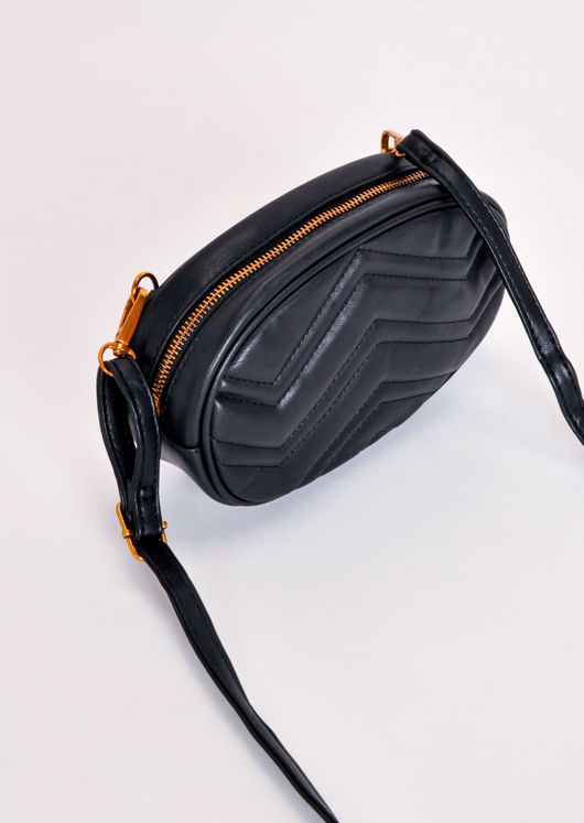 Quilted Faux Leather Bum Bag Black