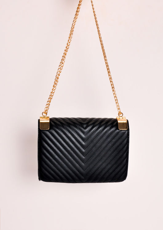 Quilted Gold Chain Bag Black