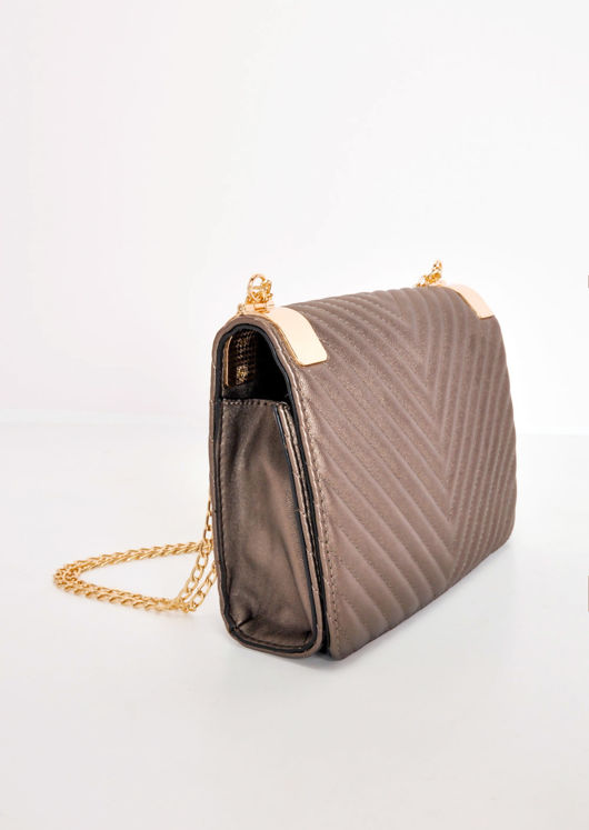 Quilted Gold Chain Bag Bronze