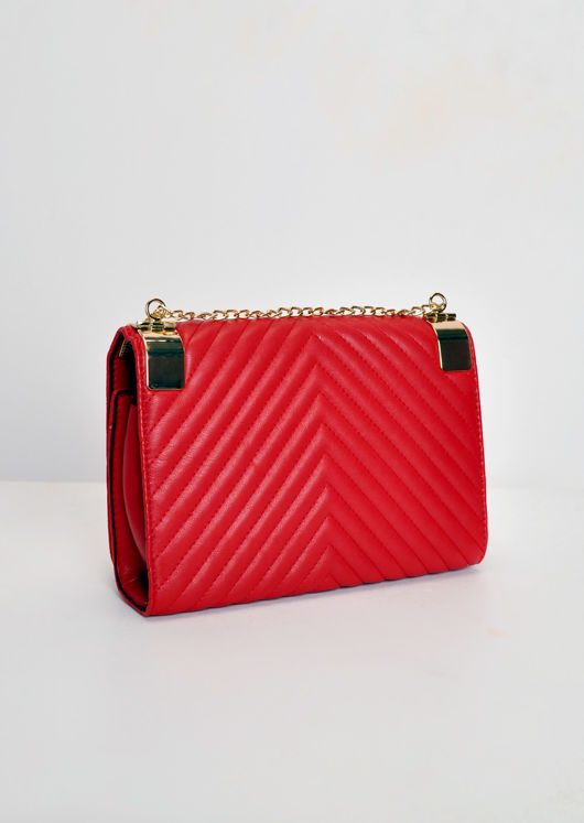 Quilted Gold Chain Bag Red