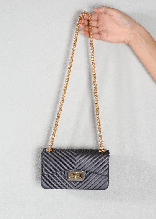 Quilted Gold Chain Clutch Bag Black