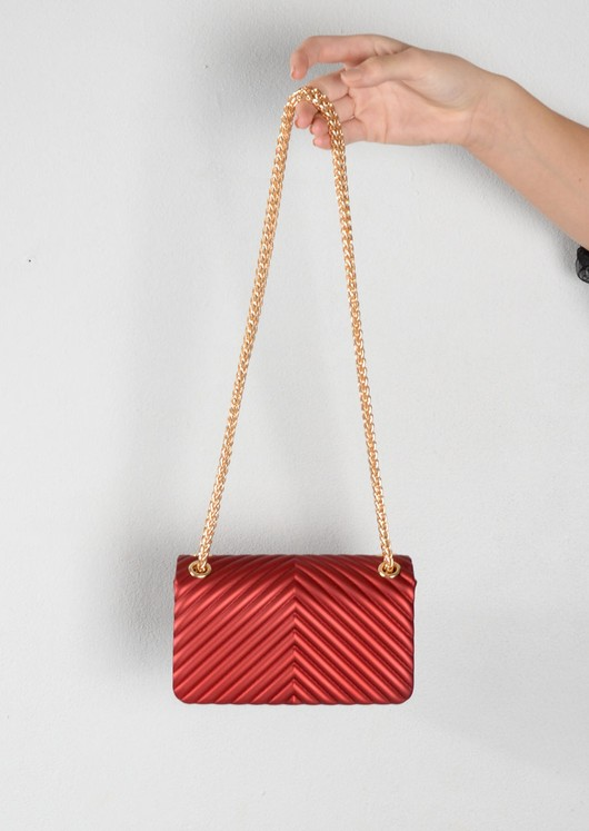 Quilted Gold Chain Clutch Bag Red