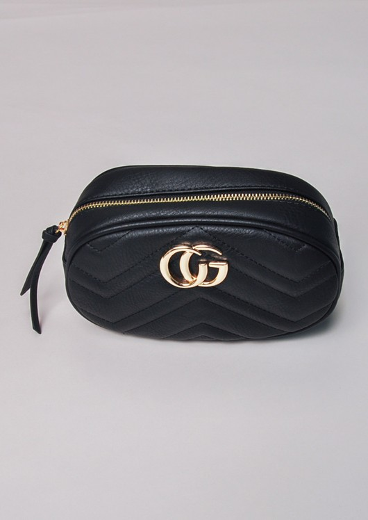 Quilted Gold Detail Bum Bag Black