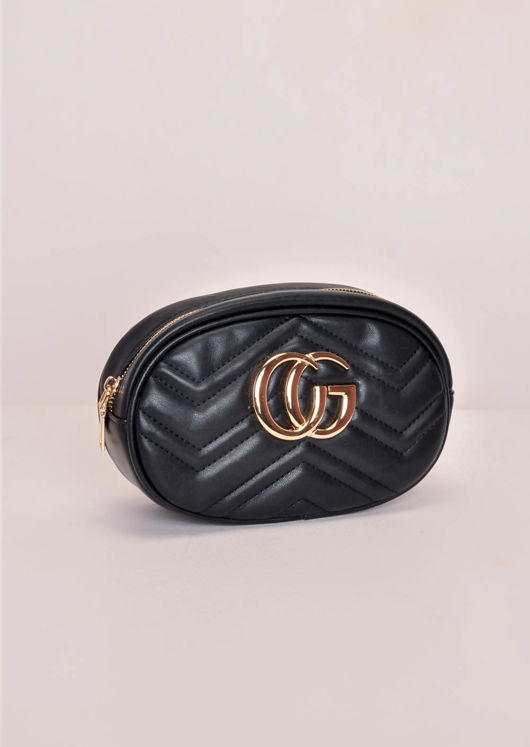 Chevron Pattern Quilted Gold Detail Bum Bag Black