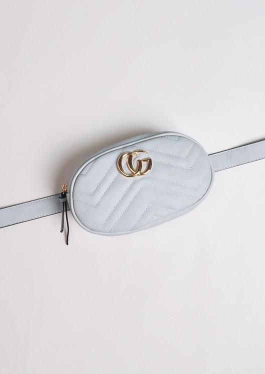 QuiltedGold Detail Bum Bag Grey