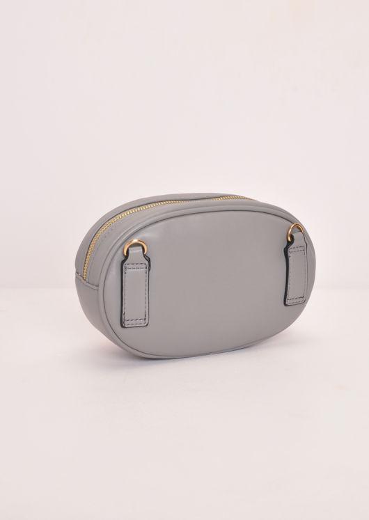 Chevron Pattern QuiltedGold Detail Bum Bag Grey