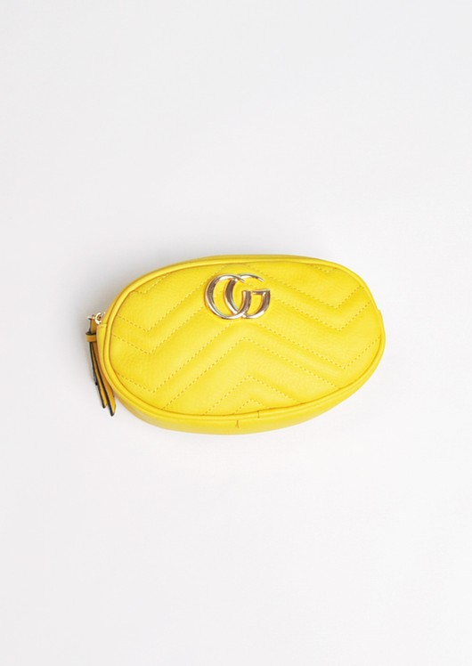 Quilted Gold Detail Bum Bag Mustard Yellow