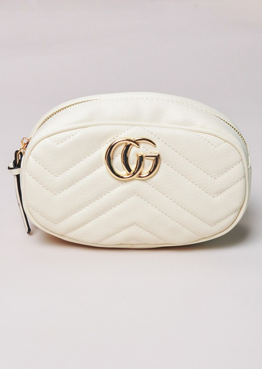 Quilted Gold Detail Bum Bag White