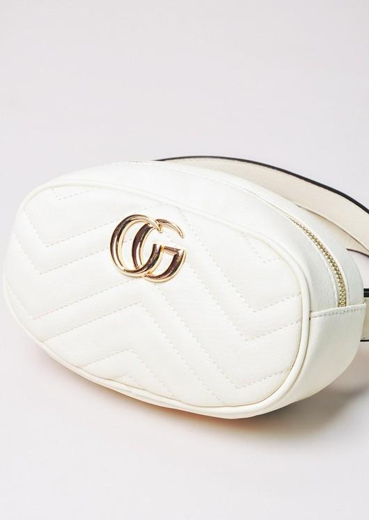 QuiltedGold Detail Bum Bag White