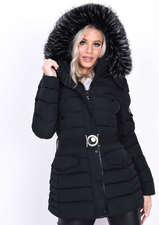 Quilted Hooded Padded Belted Puffer Coat Black