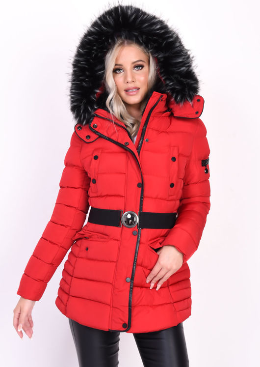 Quilted Hooded Padded Belted Puffer Coat Red