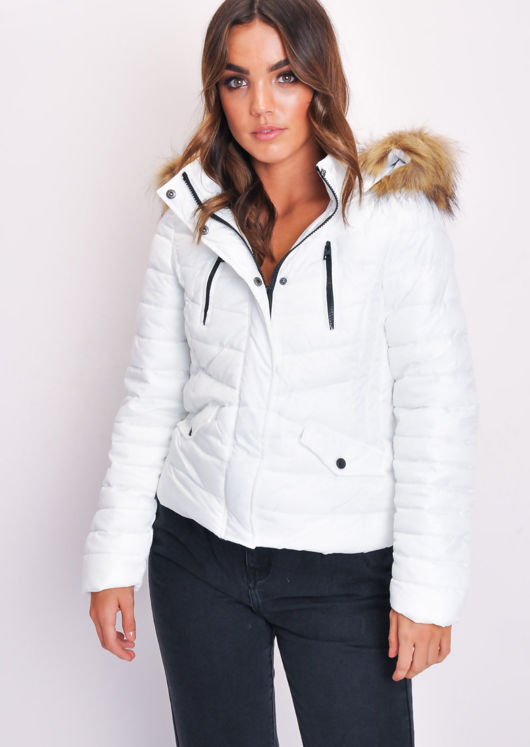 Quilted Padded Contrast Zip Puffer Coat With Hood White
