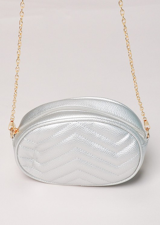 Quilted Shoulder Chain Bum Bag Silver