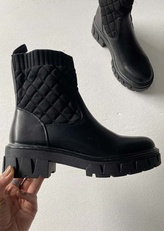 Quilted Sock Detailed Cleated Ankle Boots Black
