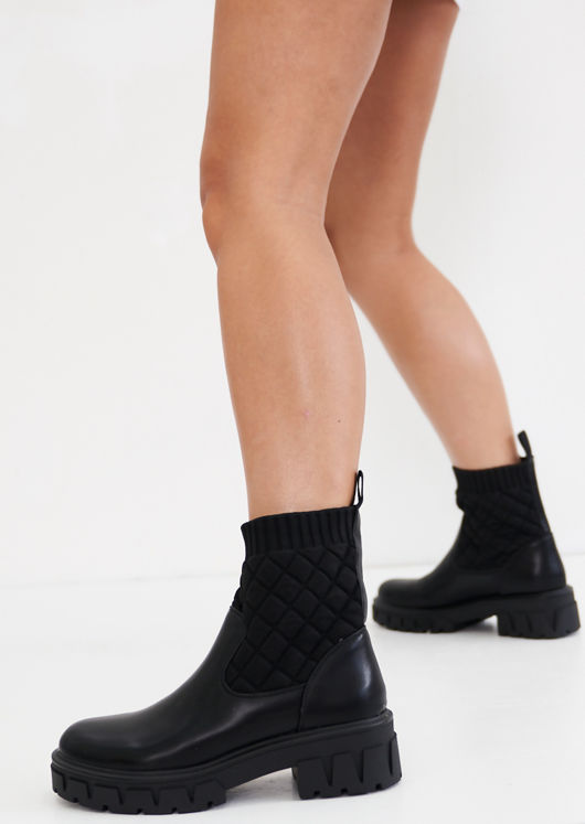 Pu Quilted Sock Cleated Ankle Boots Black