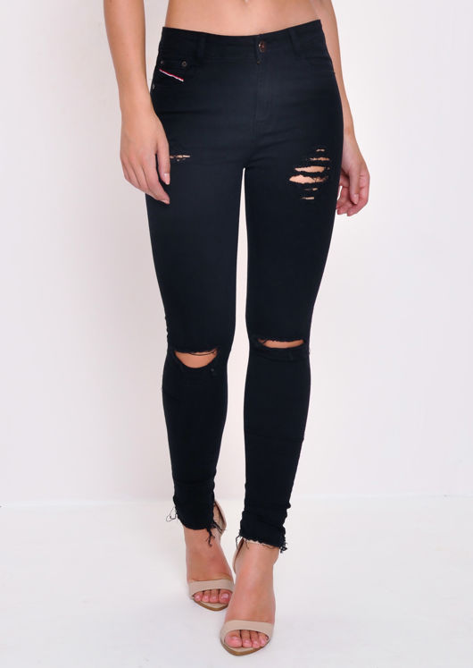 Raw Hem Distressed Skinny Jeans Black