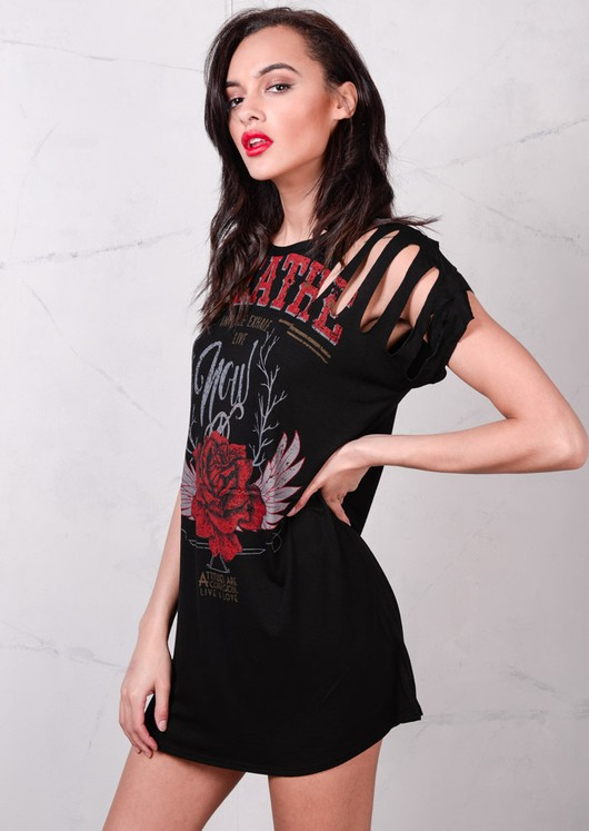 Red Rose Distressed Slogan T Shirt Dress Black