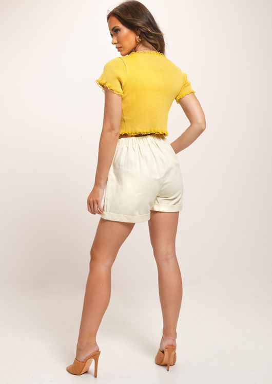 Relaxed High Waisted Shorts Beige