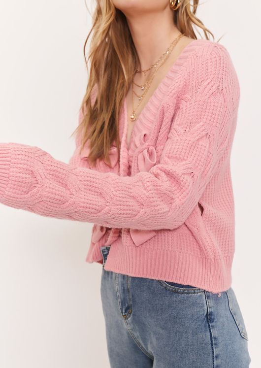 Cable Rib Knit Bow Detail Long Sleeve Cardigan Top Pink