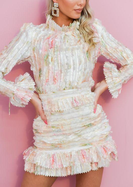 High Neck Frill Detail Long Sleeve Mini Dress Beige