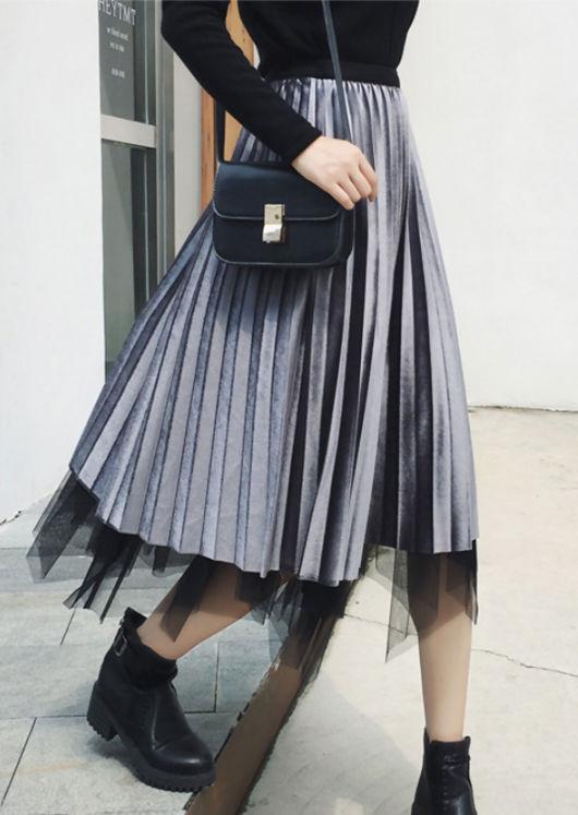 Reversible Midi Velvet Tulle pleated Skirt Grey