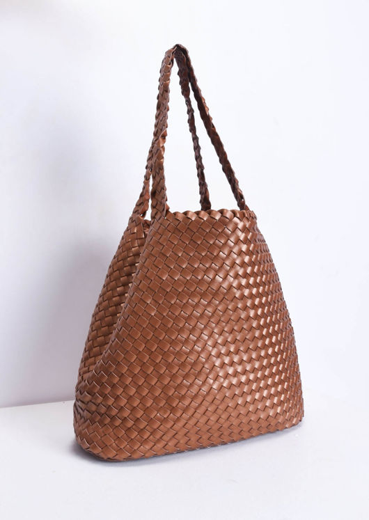 56a89a95d0 Reversible Woven Tote Bag Brown