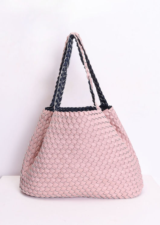 Reversible Woven Tote Bag Pink
