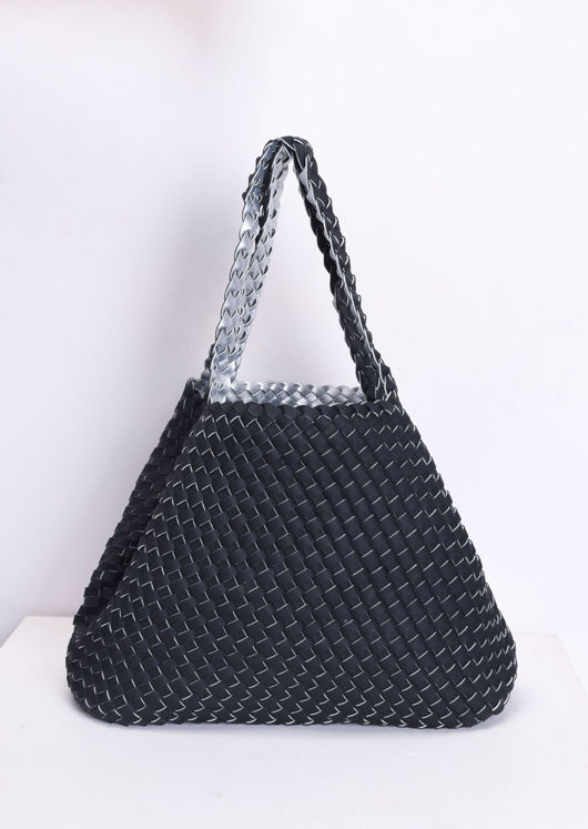Reversible Woven Tote Bag Silver