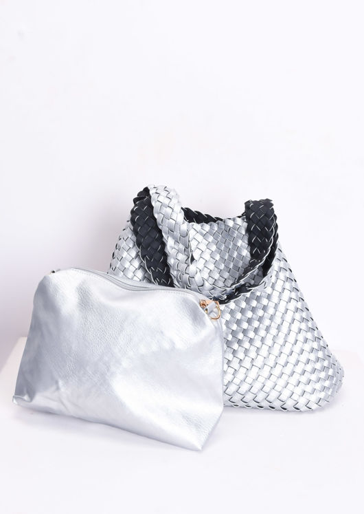 Reversible Woven Tote Bag Silver
