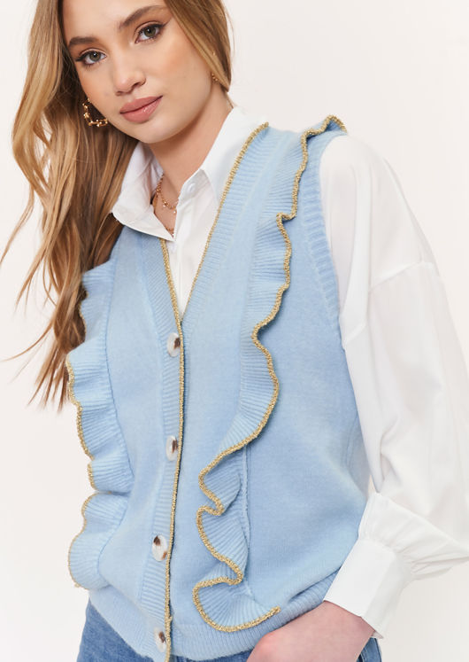 Knitted Button Down Glitter Frilled Vest Top Blue