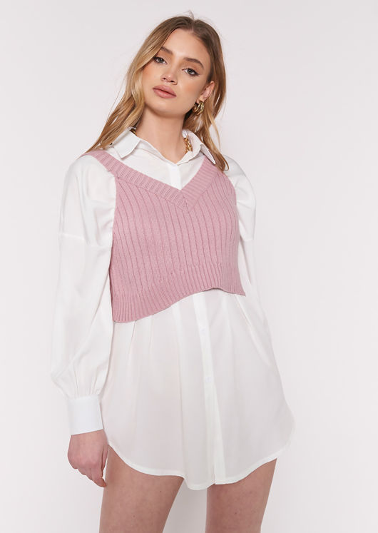 Rib Knit Cropped Strapped Vest Top Pink