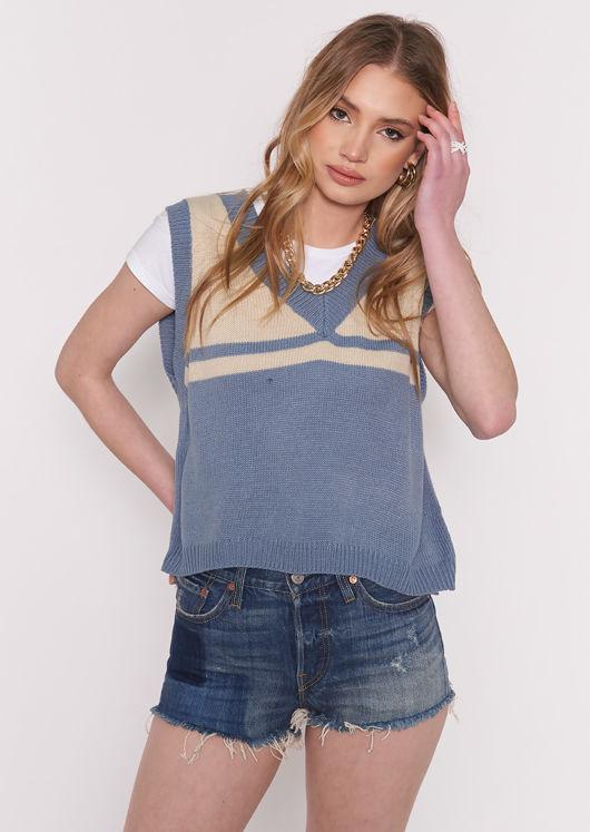 Oversized Rib Knit Striped V Neck Vest Top Blue