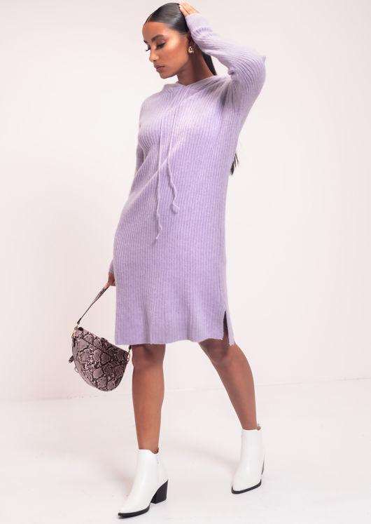 Rib Knitted Hoodie Long Sleeve Midi Jumper Dress Purple
