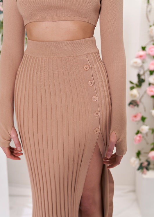 Knit Long Sleeve Crop Top And Midi Pleated Split Skirt Co-Ord Beige