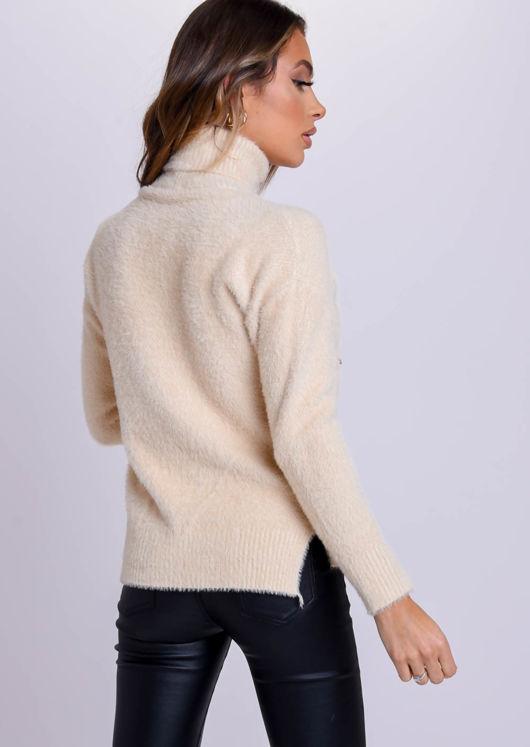 Fluffy Long Sleeve Turtle Neck Sweater Top Beige
