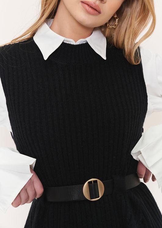 Mock Neck Knit Sleeveless Pu Belted Side Split Vest Top Black