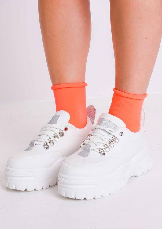 Ribbed Ankle Socks Neon Orange