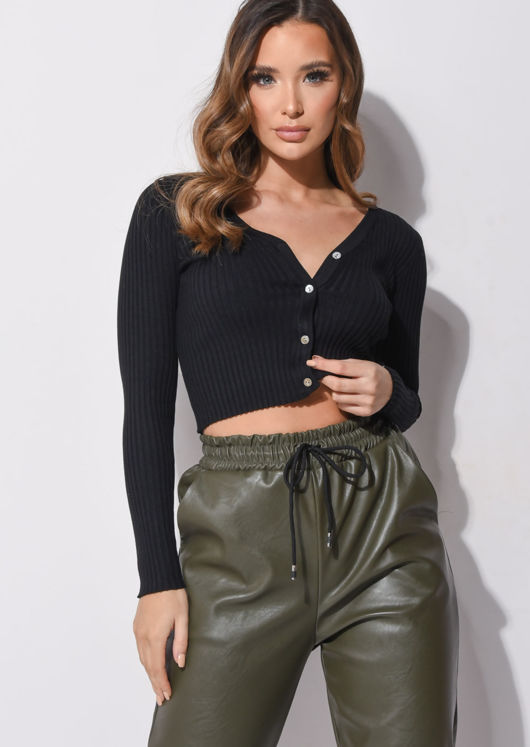 Ribbed Button Down Crop Cardigan Knitted Top Black