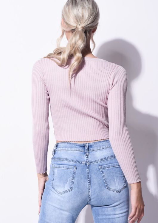 Ribbed Button Down Crop Cardigan Knitted Top Pink