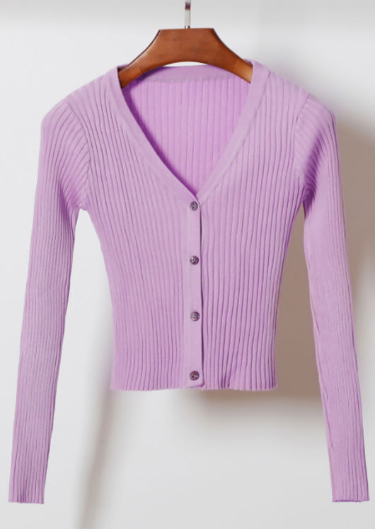 Ribbed Button Down Crop Cardigan Knitted Top Purple