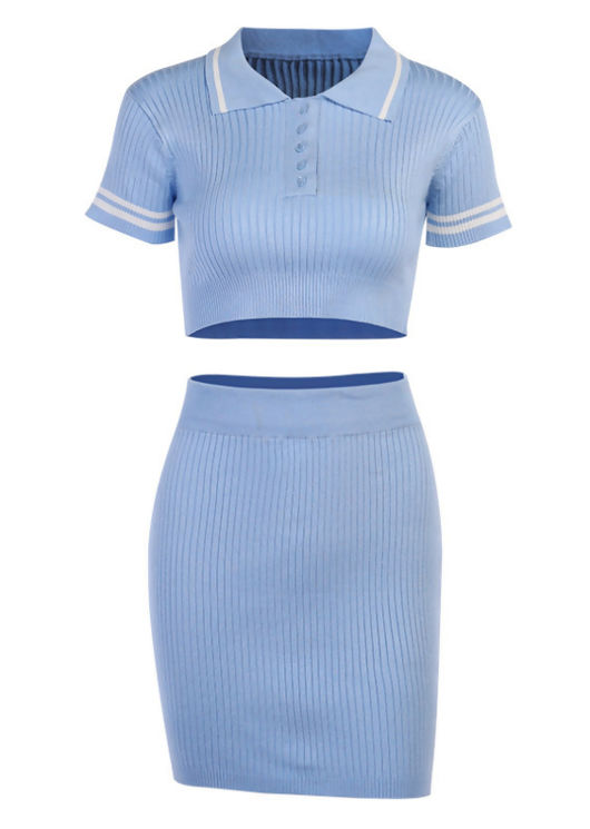 Ribbed Crop Polo Style Top Mini Skirt Co ord Set Blue