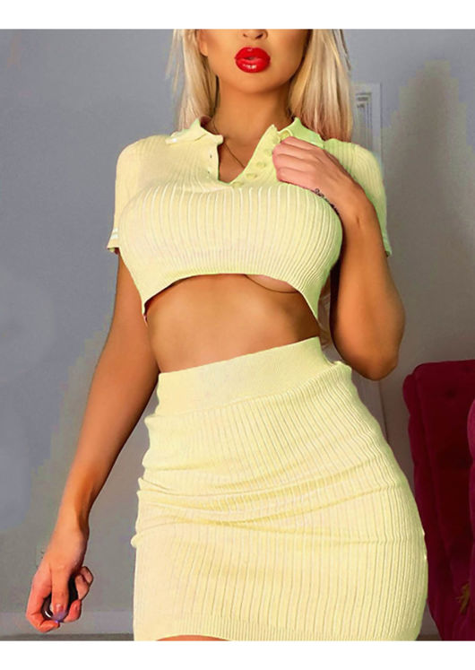 Ribbed Crop Polo Style Top Mini Skirt Co ord Set Yellow
