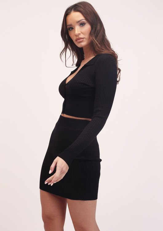 Ribbed Cropped Cardigan Top and Mini Skirt Co-Ord Set Black