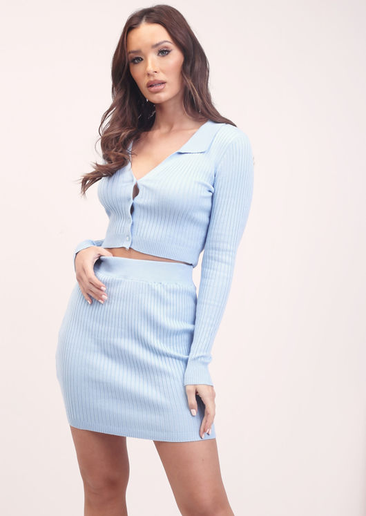 Ribbed Cropped Cardigan Top and Mini Skirt Co-Ord Set Blue