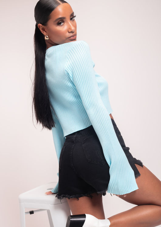Knitted Cropped Cardigan Top and Strappy Cami Top Blue