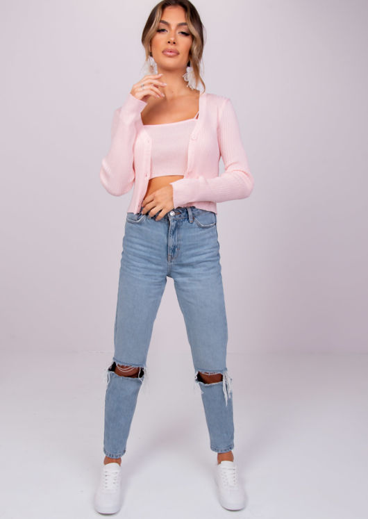 Knitted Cropped Cardigan Top and Strappy Cami Top Pink